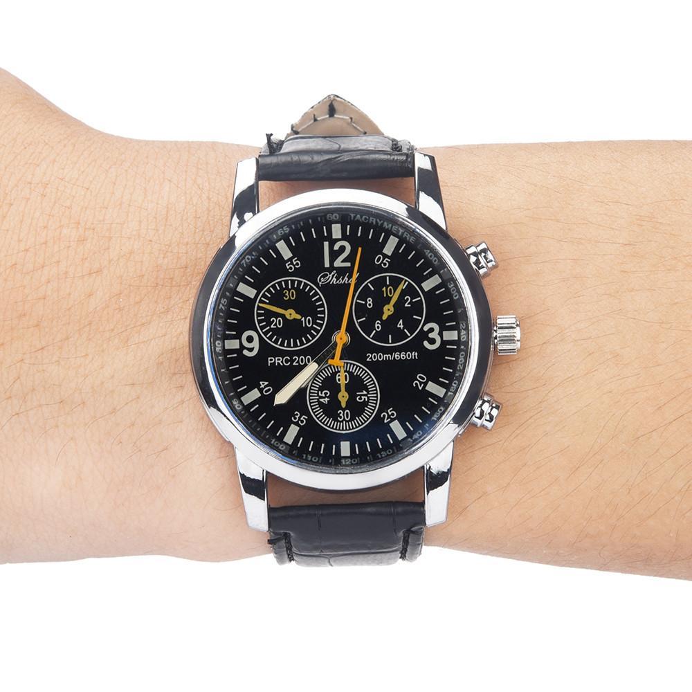 diseño de calidad a25ea 482dd Compre Reloj De Pulsera Para Hombre Reloj Elegante Hombres Blue Ray Vidrio  Cuarzo Neutral Simula Muñeca Epidérmica Correa De Cuero Reloj Relojes Para  ...