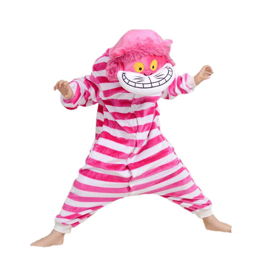 novelty kids one-piece pajamas cute cat rose striped sleepwear for 3-10yrs children boys girls onesie pajamas night clothes
