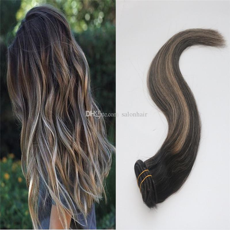 Human Hair Extensions Clip In Darker Brown To Blonde Highlights Real Hair Ombre Full Head Silky Straight Long Hair 120g Red Human Hair Extensions Red