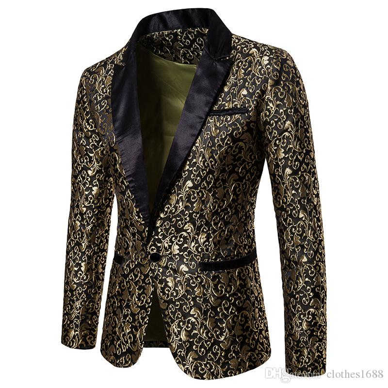 Wholesale Designer Slim Fit Blazer 2019 Autumn Winter Mens Floral Blazers Floral Prom Dress Blazers Elegant Wedding Blazer and Suit Jacket