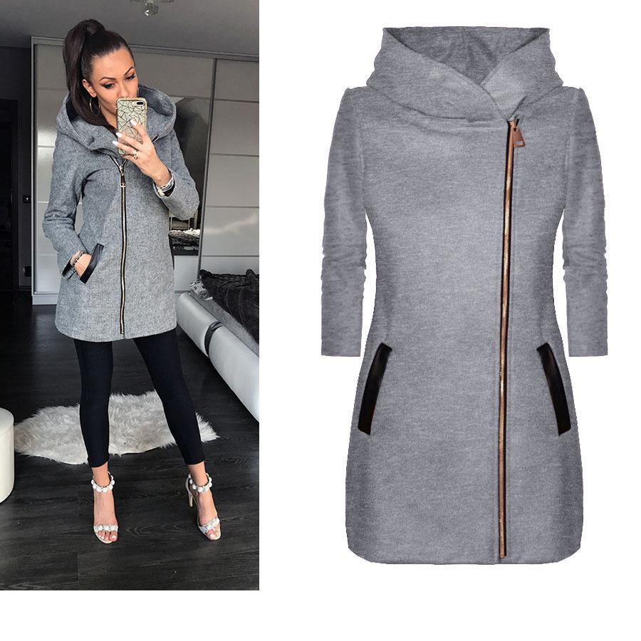 Kadın 5XL Artı Kadife Kış Tasarımcı Ceketler Katı Renk Kapşonlu Uzun Kollu ile Şapka Artı boyutu Giyim
