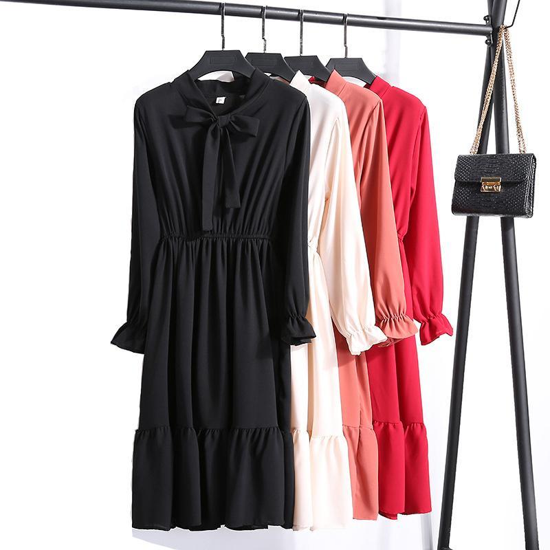 2019 Spring Dress Long Arm Office Polka Dot Vintage Dress Women Casual Red Floral Autumn Shirt Chiffon Midi Dress For Ladies Y19070901