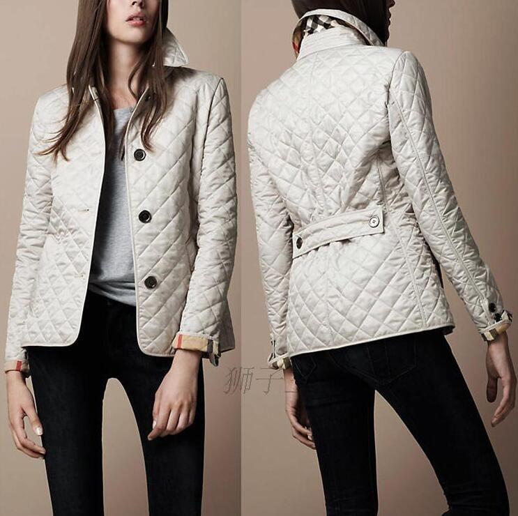 Fashion-Wholesale - Kadın Ceket Basit Güz Yastıklı Yastıklı Casual Kaban Ceket Moda Ceket Ekose Kapitone Yastıklı Kağıtlar