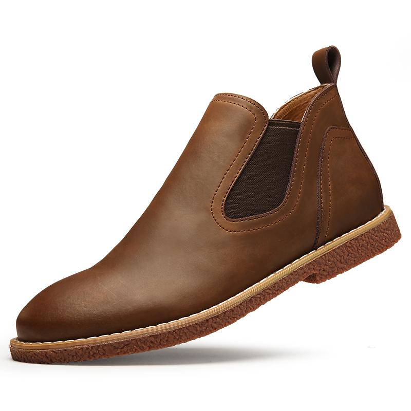 Natural leather ankle Boots Men rubber rain boots fashion chelsea botas hombre casual slip-on waterproof boots moccasins zapatos