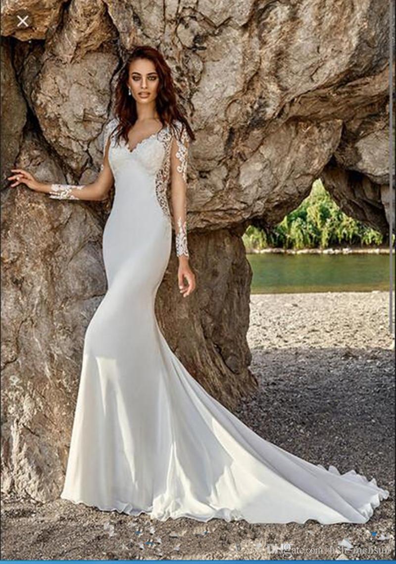 2019 Nueva Bohemia vestidos de encaje de manga larga con cuello en V vestido de novia apliques de gasa 100% imagen real de la vendimia de la sirena Vestidos de