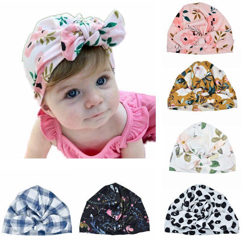 Bambino cappello stampa coniglio orecchie tappo bambino ragazzo ragazza ragazza 2 in 1 cappello multi-funzione floreale bowknot cappello neonato fotografia puntelli bambino cappello