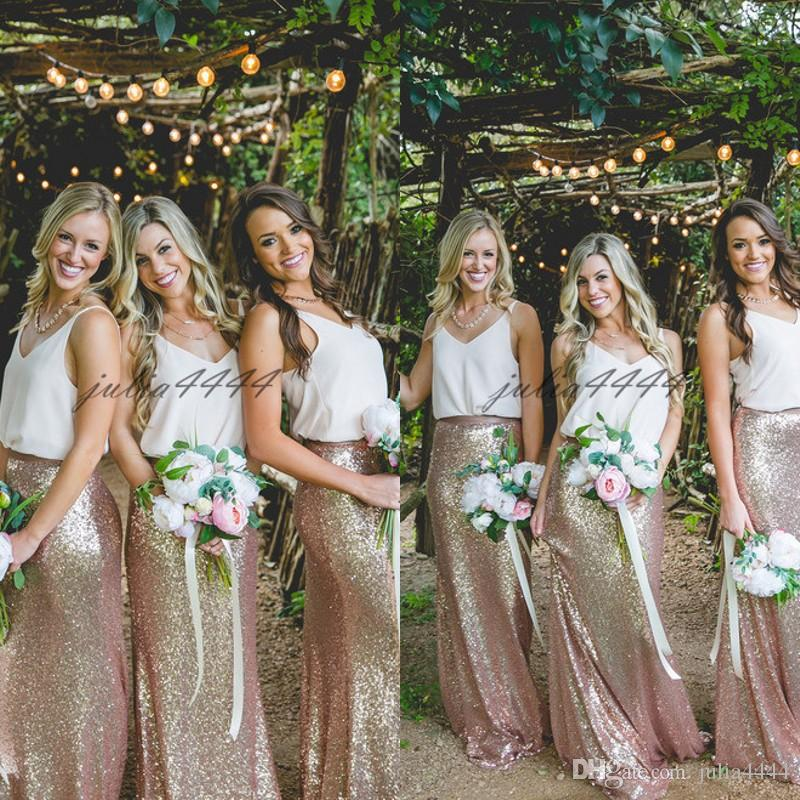 Long Chiffon Sequined Bridesmaid Dresses 2019 Two Pieces Floor Length Elegant Garden Bridesmaid Gowns for Weddings Prom Party Dress