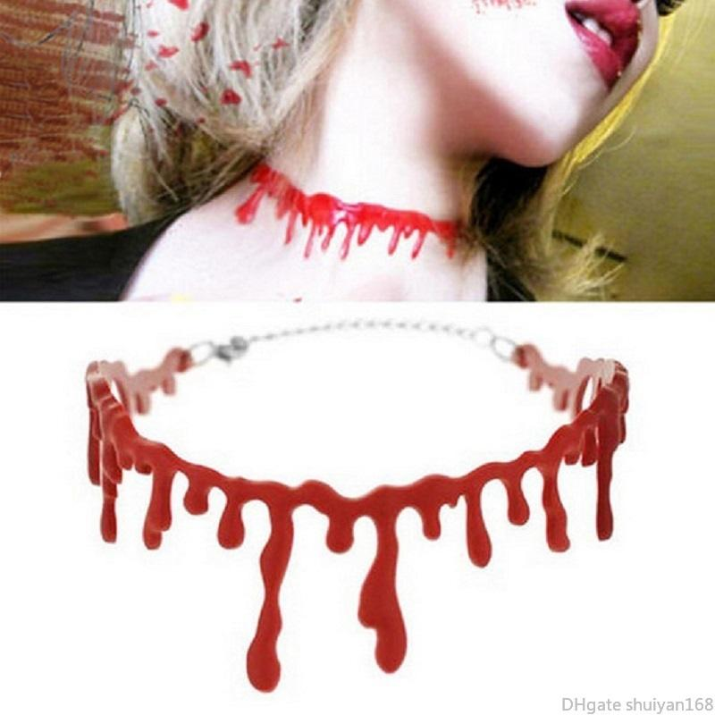 Halloween Horror Blood Drip Necklace Bloodstain Vampire Gothic Choker Punk Cosplay Necklaces Party Decoration Jewelry Accessories