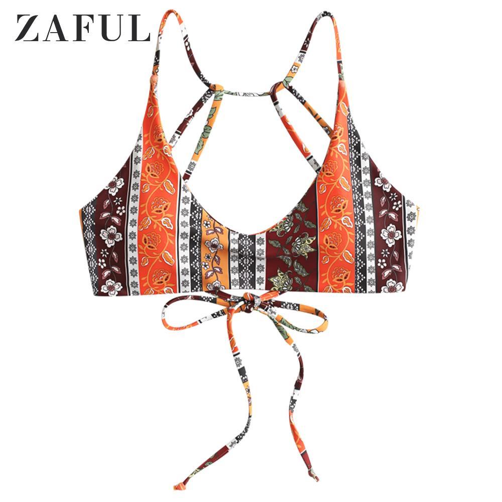 ZAFUL Boho Floral Paisley Haut de bikini à bretelles
