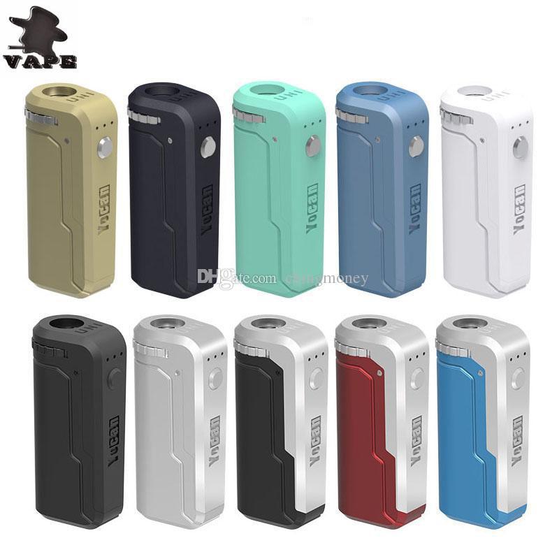 100% autêntico Yocan UNI Box Mod 650mAh Pré-aqueça o VV bateria para 510 linha grossa Oil Cartridge cigarro eletrônico Vape Mod DHL livre