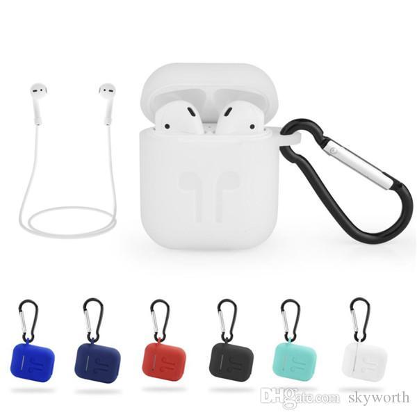 애플 Airpods 케이스 파우치 실리콘 부드러운 울트라 얇은 보호기 Airpod 커버 Earpod 케이스 안티 드롭 후크