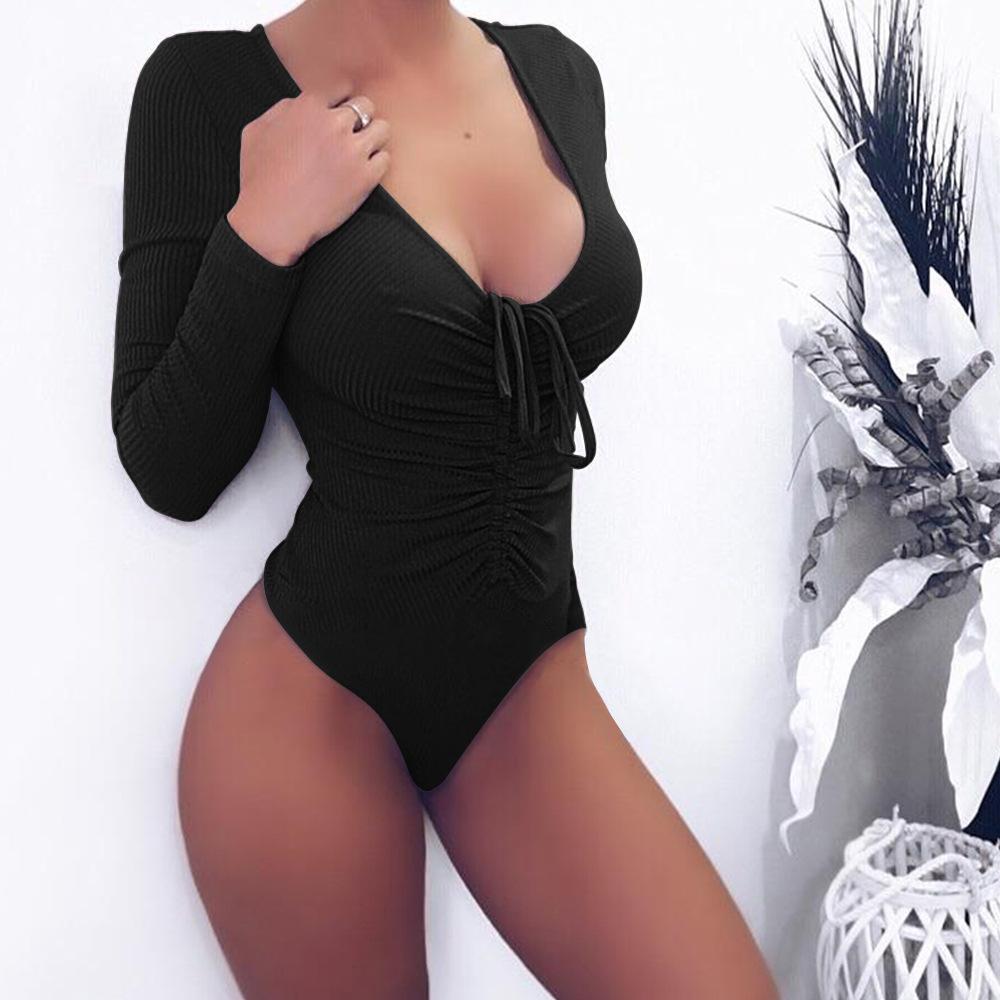2019 Art und Weise Frauen-Overall 2019 neue Sommer-langärmelige tiefen V-Bügel Einteilige Klage dünnen Overall für Frauen Natural Color Hot Brand X-X