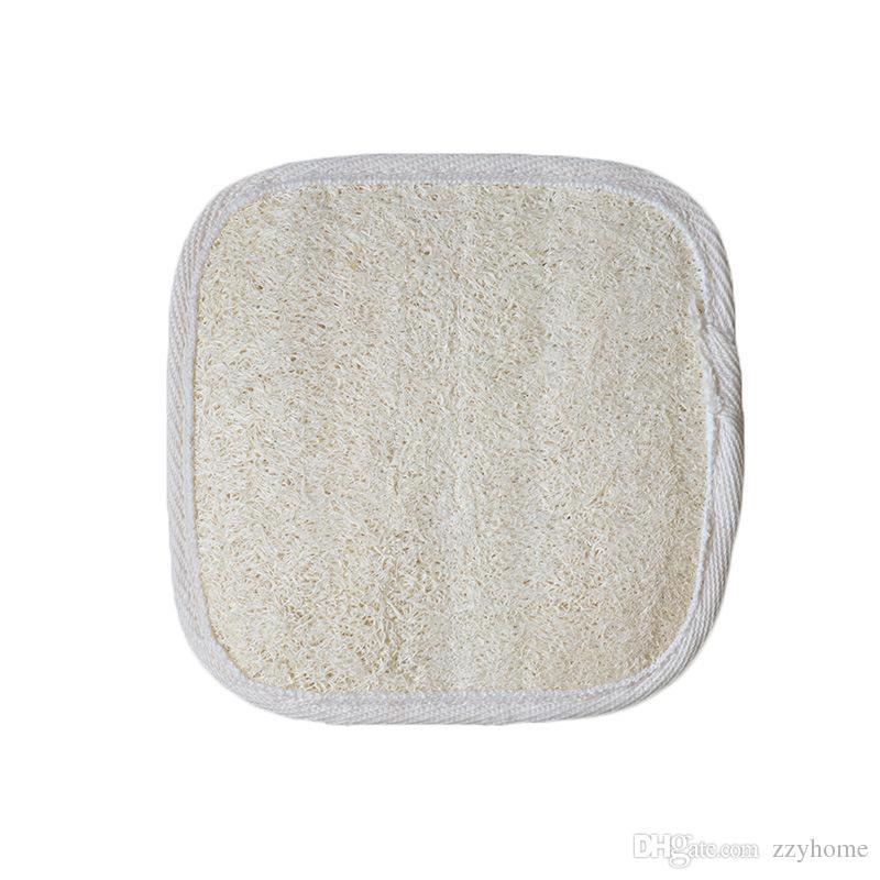 12x12cm formado cuadrado de lufa natural pad exfoliante Luffa quitar la piel muerta del masaje del balneario Potente Cleansing Pad lufa Esponja de baño