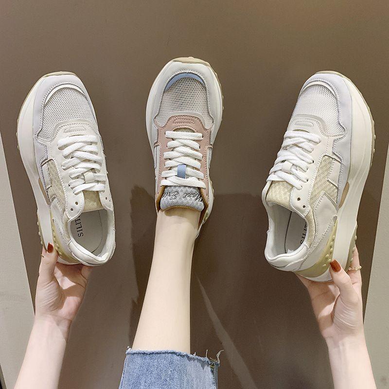 Papá mujeres de los zapatos nuevo color sola capa de malla 2020 de verano a juego inferiores gruesos zapatos deportivos casuales salvajes