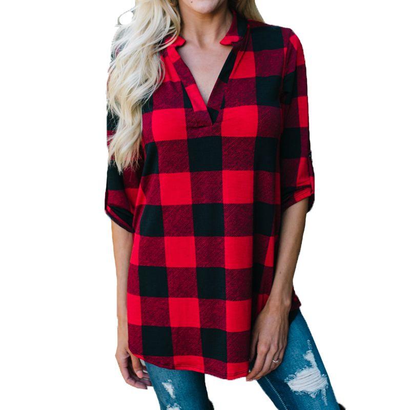 Kadınlar için yaz Tops 2018 Uzun Kollu Bluz V Boyun Ekose bayanlar Gömlek Casual Gevşek Bluz Gömlek Tunik Üstleri Tee Blusas mujer