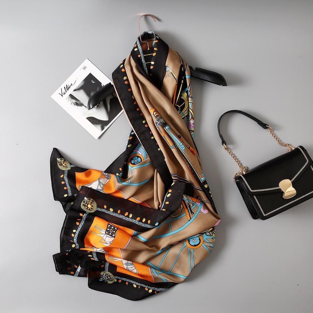 Horse Print 100% Silk Scarf Women Hijab Summer Scarves Soft Long Lady Shawl And Wrap Pashmina Bandana Beach Stoles