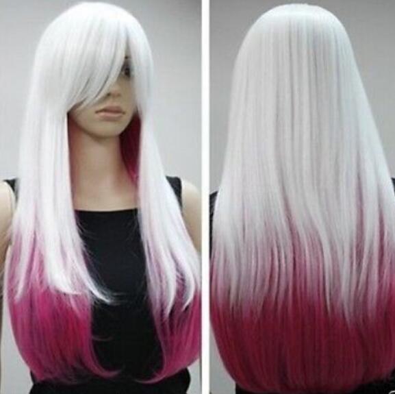 ENVIO GRATIS + ++ Cos blanco y rosa roja larga recta cosplay peluca