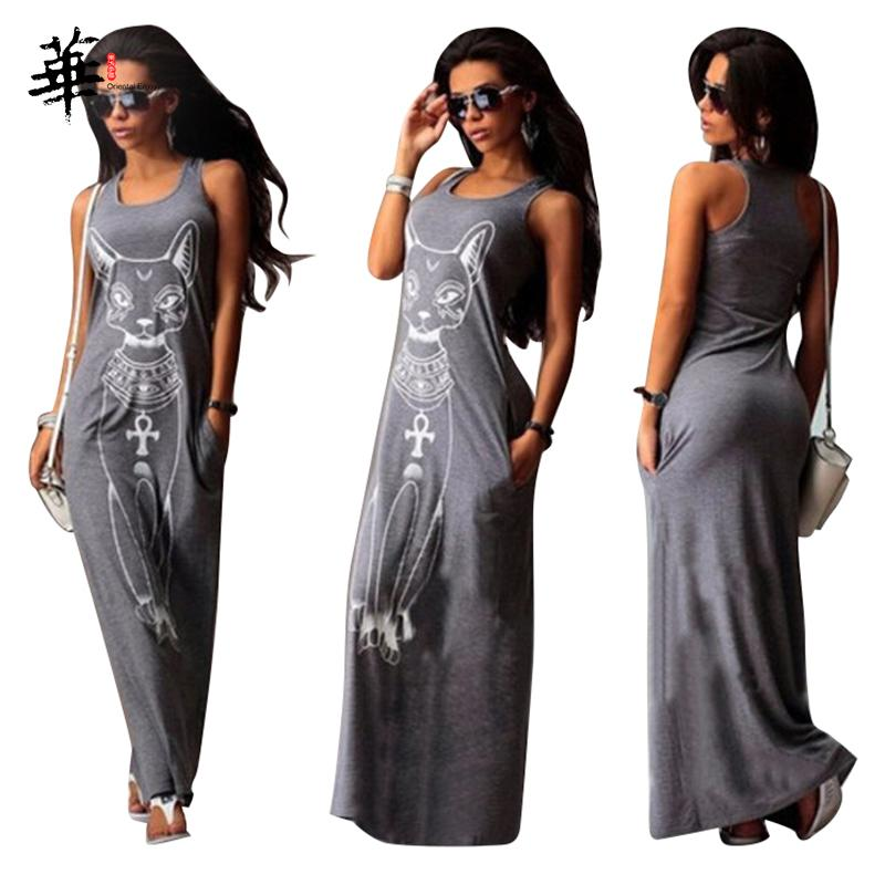 Cat Tanque Casual mangas Bodycon Maxi vestidos de verão elegante vestido de festa Sexy para mulheres Plus Size vestido longo sem mangas