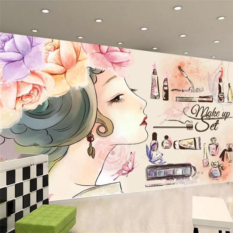 mural de encargo del papel pintado murales 3d manera de la belleza pestañas uñas tienda de tv pared del fondo de la pintura coreana fondo de pantalla semipermanente