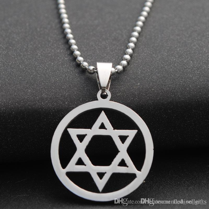 10pcs Stainless Steel Hexagon Six-pointed Star Magic Symbol Necklace Israel Emblem Necklace Geometric Round Overlapping Triangle Necklace