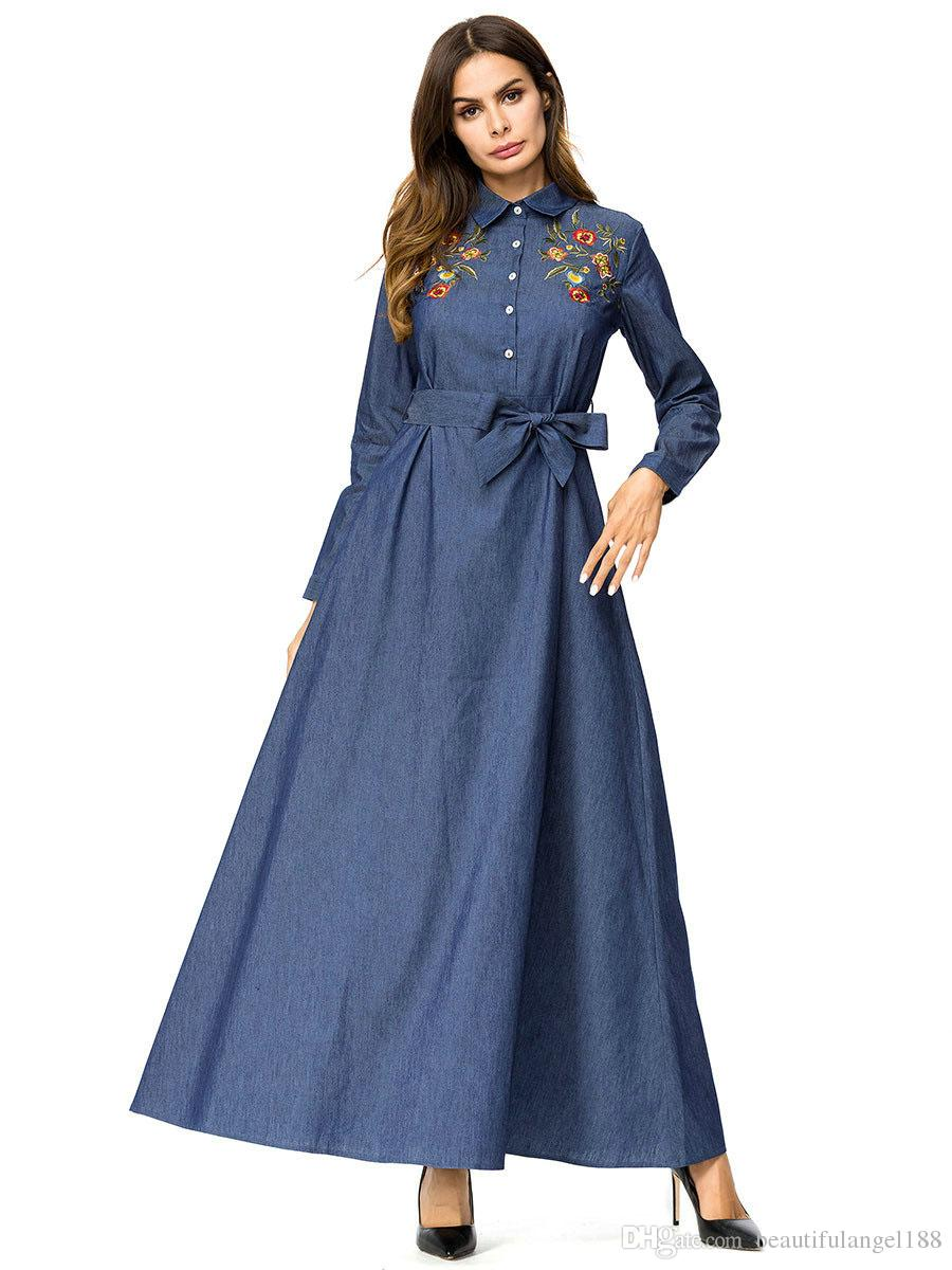 ac4d81ed093 ... Elegant Womens Shirt Dress Denim lapel Long Sleeve Single-breasted Chic  Floral Embroidery Maxi Dresses ...