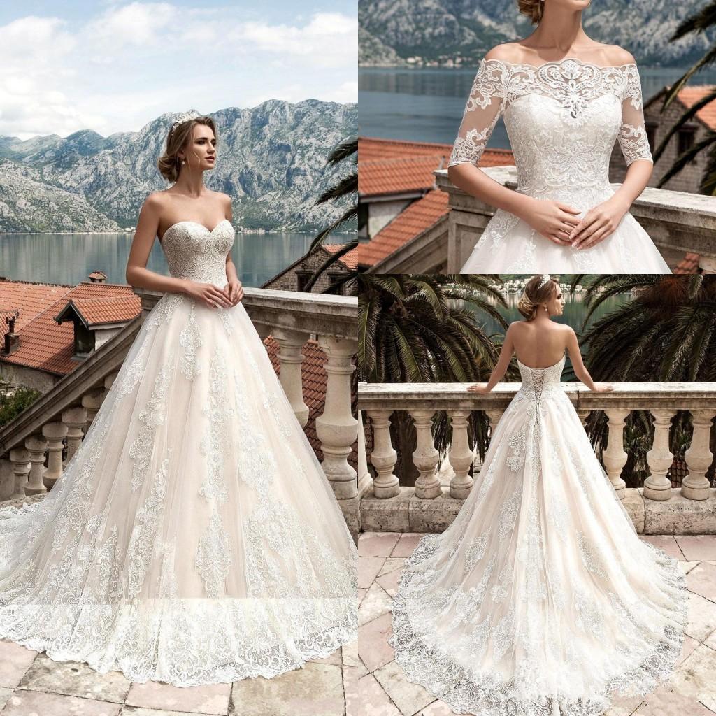 Новые свадебные платья с Съемные Половина длинными рукавами кружева аппликация Свадебные платья корсет Назад сшитое Свадебные платья Vestidos De Noiva