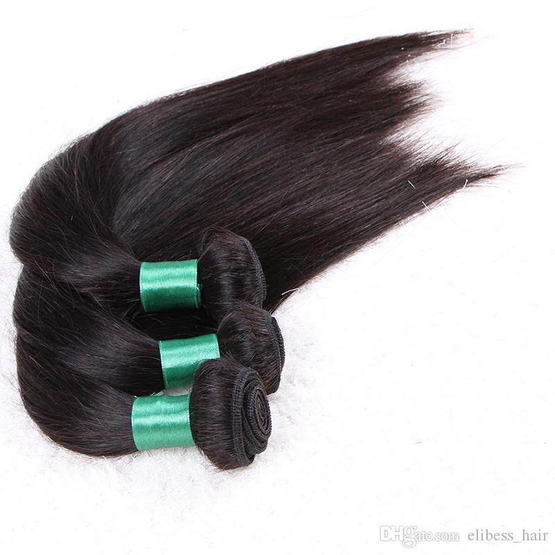 Нет запутывать не проливать 100г 3шт / серия Grade 10A двойной слой шелка прямо 100% человеческих волос девственницы не плести Bundle Free DHL