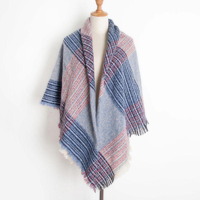de nuevo de las mujeres de moda abrigo de la bufanda de invierno suave tela escocesa A cuadros Bufanda grande de la manta del mantón del abrigo / POR