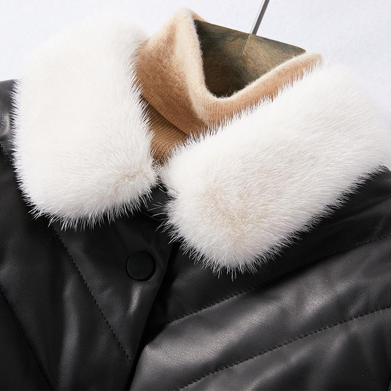 Genuine Leather Jacket Women Winter Real Mink Fur Collar Duck Down Jacket Female 100% Sheepskin Coat Veste Femme W00232 YY1781
