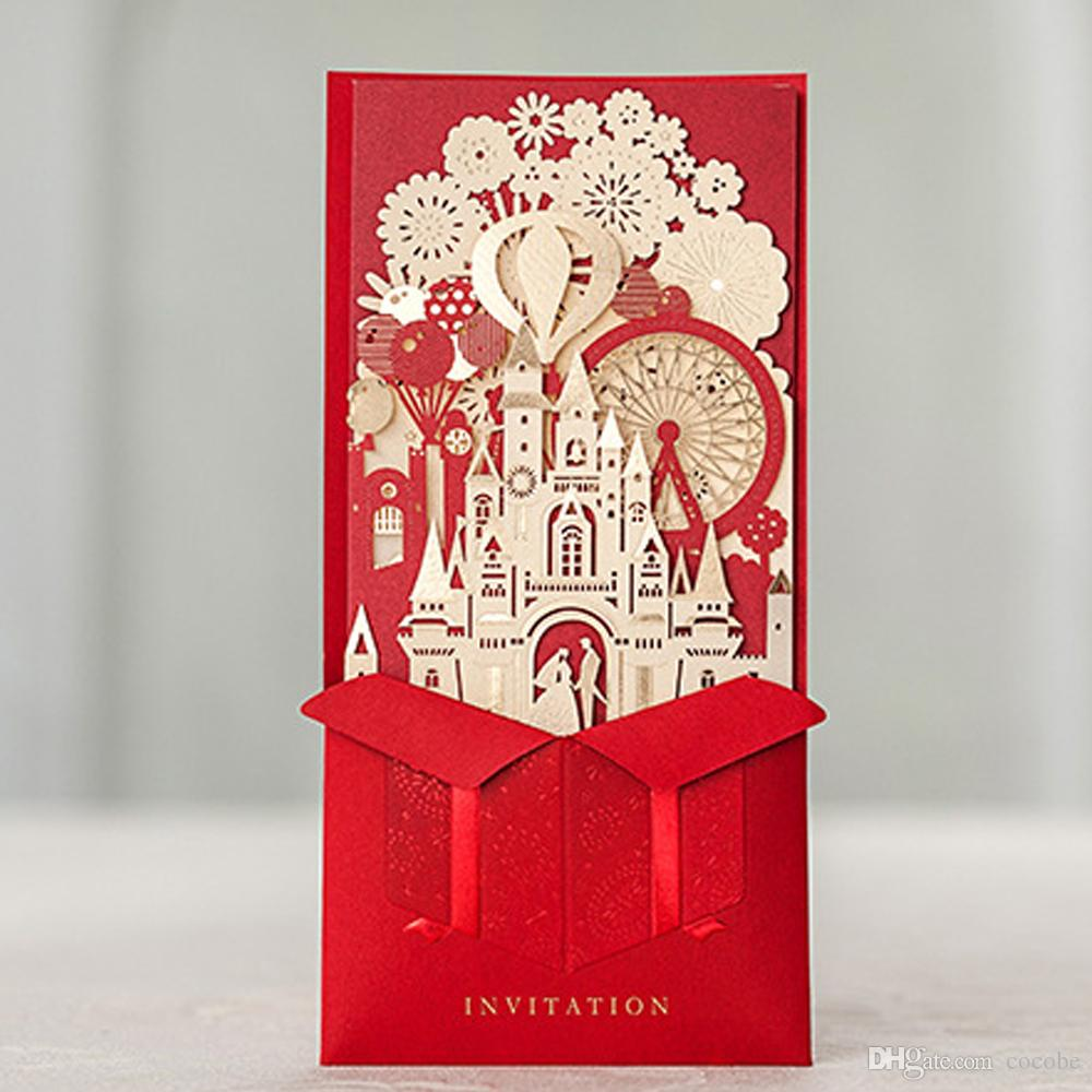 Wishmade Red Laser Cut 3D Wedding Invitations Kit with Bride and Groom in Castle Invites Cards for Engagement Marriage Wedding Bridal Shower