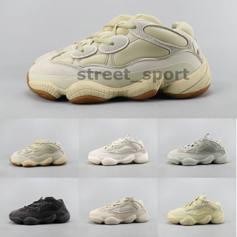 Nova onda pedra Runner 500 Osso Branco Utility Black Salt Supermoon amarelas 500s Running Shoes Kanye West Mulheres das sapatilhas dos homens