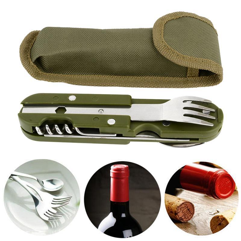 Outdoor Folding Geschirr Löffel / Gabel Multi kampierende Utensil Wiederverwendbare Picknick-Gang-Edelstahl-Reise-Essgeschirr Kit