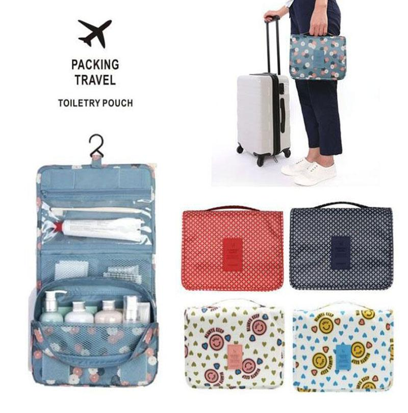 30pcs 2019 New Design Printed Unisex Portable Cosmetic Organizer Waterproof Large Capacity Hook Travel Hanging Toiletry Bag Wash Makeup Bags