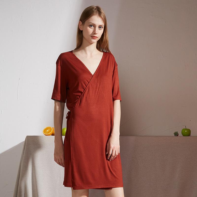 Erwachsene reizvolle V Ansatz Sommer-Modal Nachtwäsche Nighgown Robe Short-Kleid für Frauen-Nachthemd Nachtwäsche Kleidung Wohn Wear Kleidung
