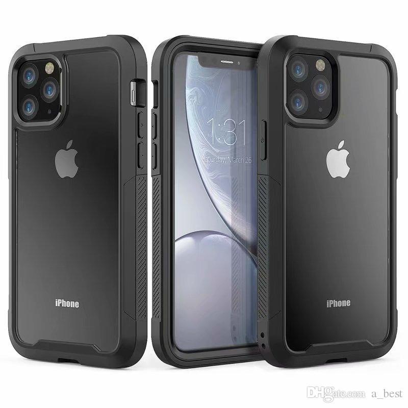 Trasparente Custodia per cellulare antiurto per iphone 11 Pro Max XS X XR 8 più chiaro robusto morbido acrilico ibrida TPU goccia Resistenza copertina