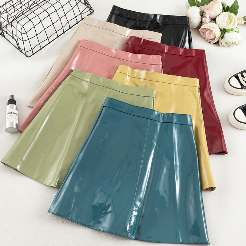 Elegante Hip Jupe Femme altura de la cintura delgada de la PU del cuero mini falda de las mujeres Negro Otoño Invierno una línea de faldas para mujer