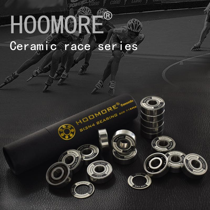 HOOMORE Si3N4 Ceramic Speed Bearing for Inline Speed Skates Shoes Professional Race 608RS 7 beads Black Ceramic 16 pcs