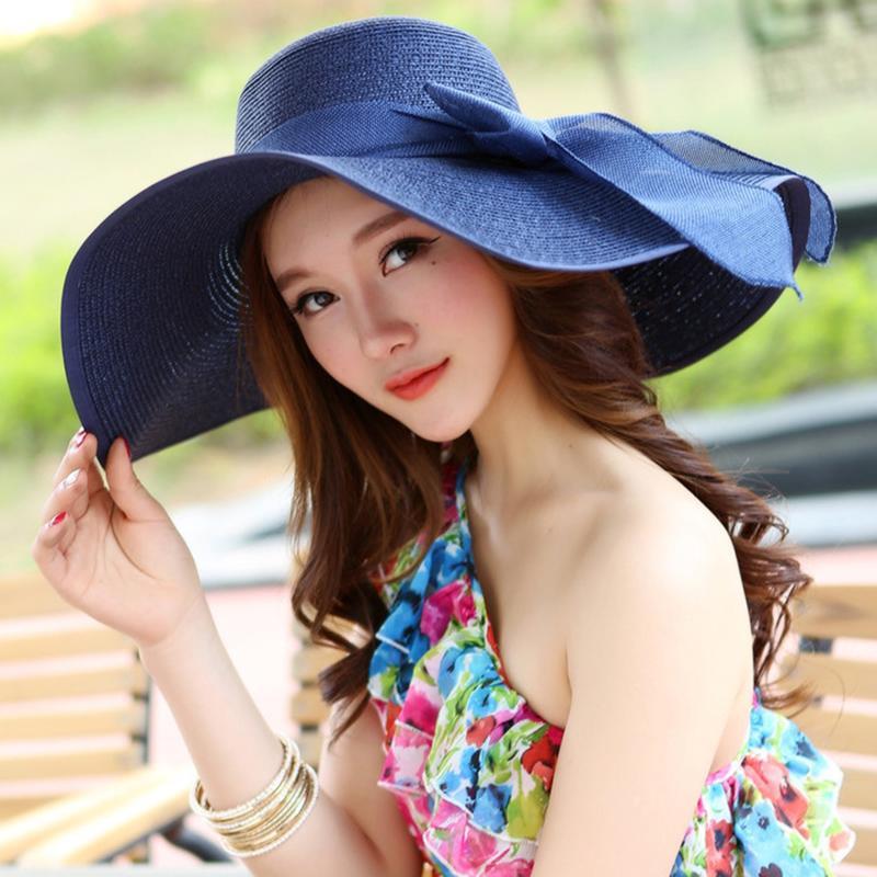 Floppy Grande Brim Hat AECU Verão chapéu de palha Casual Viagens de férias de abas largas bowknot chapéus de sol dobrável chapéus da praia para as Mulheres