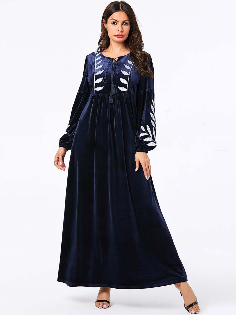 2019 Women Casual Long Sleeve Tie Neck Tassel Ethnic Embroidery Maxi Dress Pleated Vestidos Red Winter Velvet Dress Plus Size