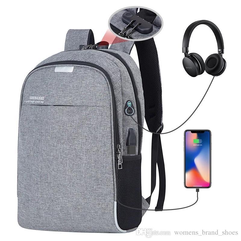 2019 hommes nti-vol marque sacs à dos sacs d'école pour les adolescents garçons de grande capacité 15,6 pouces hommes de voyage recharge USB sac à dos pour ordinateur portable sacs