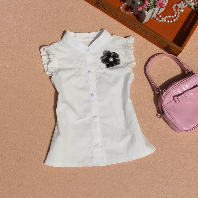Yeni Yaz Çocuk Giyim Bebek Kız Çizgili Gömlek Kızlar Giyim 14 yaşında Beyaz Pamuk Bluz Genç Okul Kolsuz Y200704 Tops