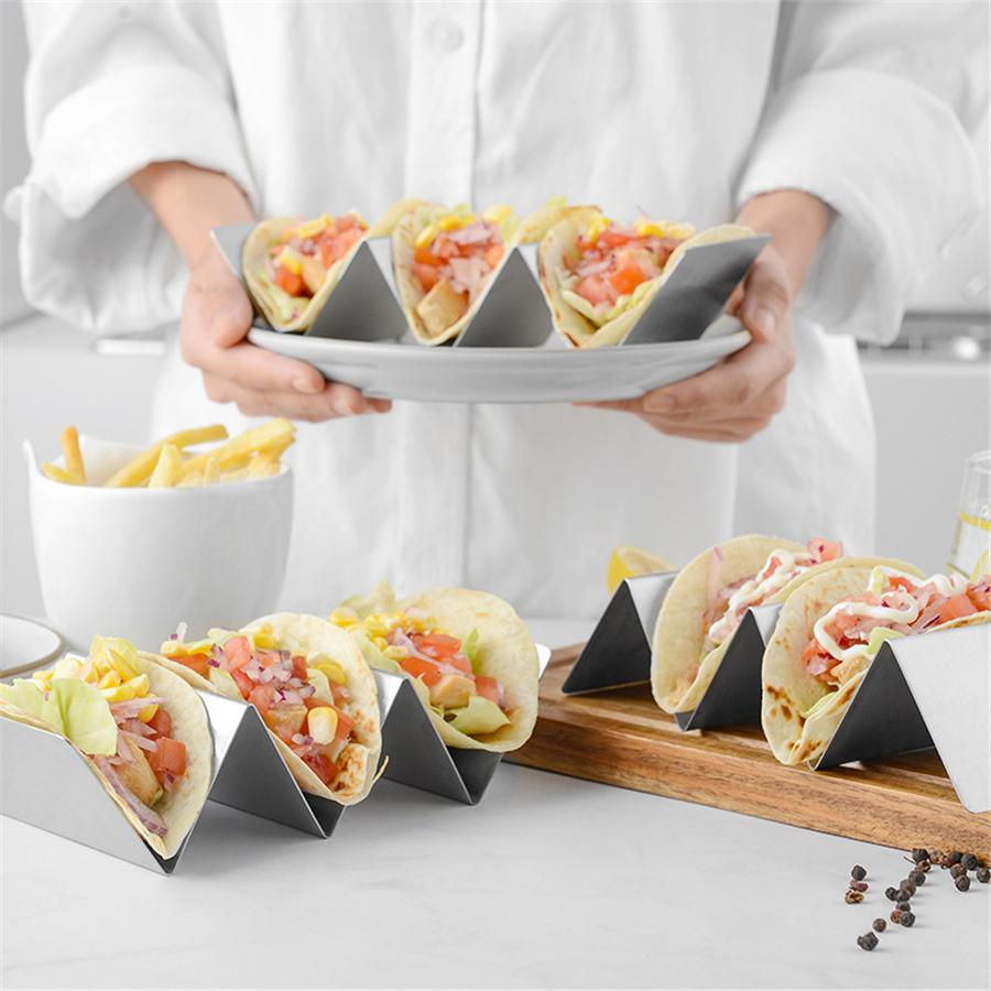 Stainless Steel Metal Taco Holder Rack Stand Wave Shape Tray Kitchen Cooking Set