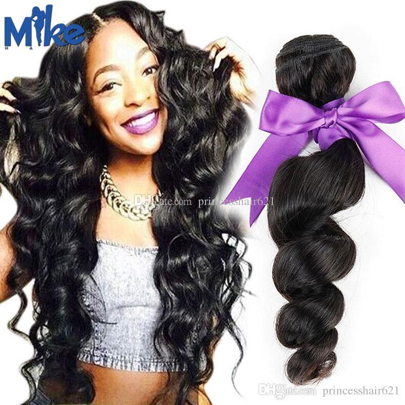 Mikehair barato cabello humano tejidos natural color brasileño suelto ola ondulada cabello extensiones de pelo 1 pieza estilo de moda peruano malaysian indio pelo