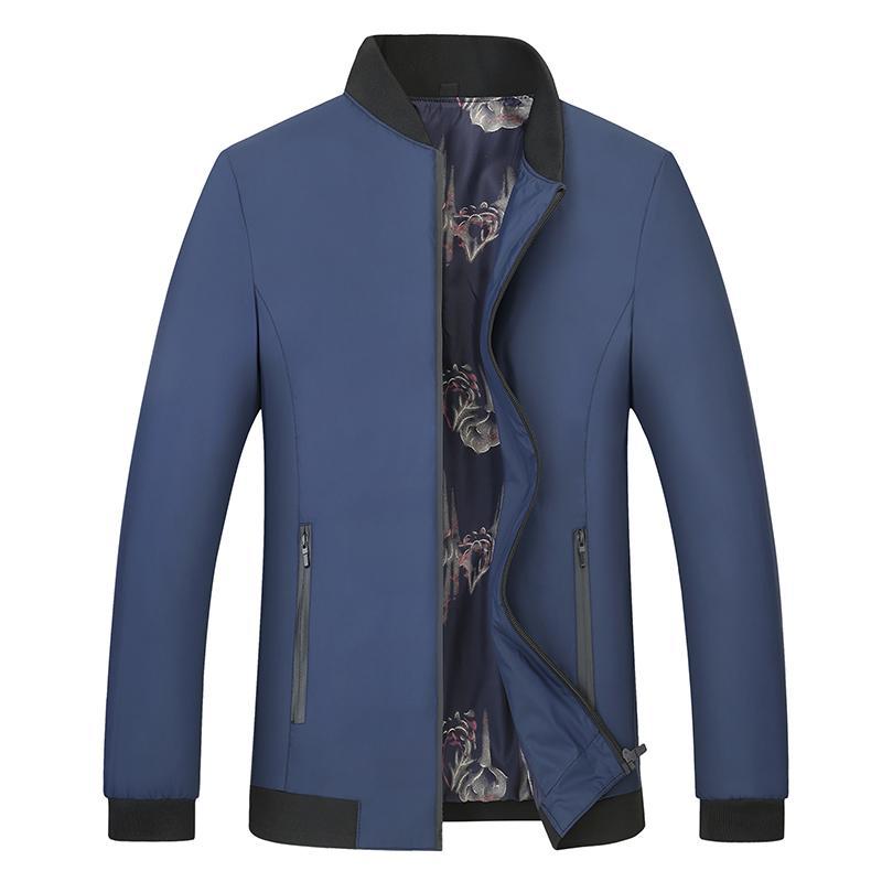 가을 새로운 스타일 남성 재킷 큰 사이즈 L-6XL 7XL 착용 캐주얼 비즈니스 코트 스탠드 칼라 단색 야구 폭격기 재킷