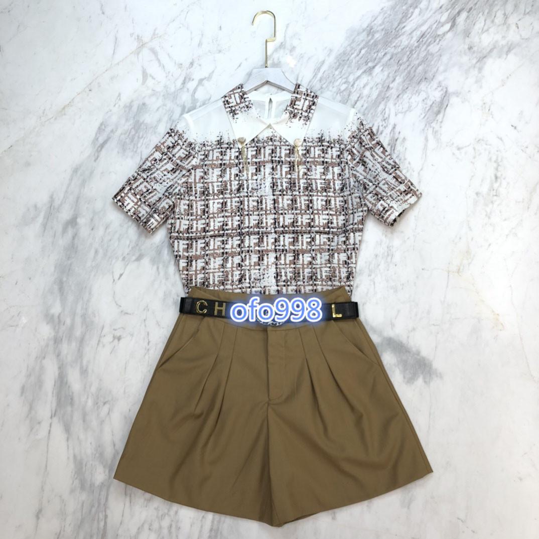 de gama alta de mujeres niñas pijamas conjunto de tapas de la camiseta camiseta letra de la impresión blusa corta de la manga y mini shorts para correr pantalón con cinturón de traje de moda 2020