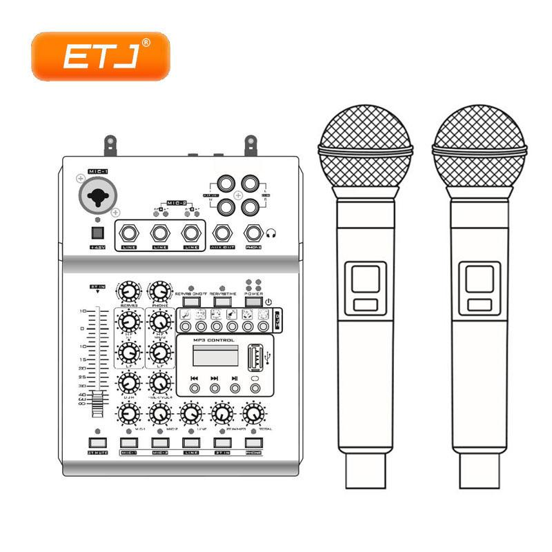 UHF Wireless Microphone Audio Mixer USB 2 Handheld Transmitter Multi-Function 48V Phantom KTV Dual Microphones Two-In-One