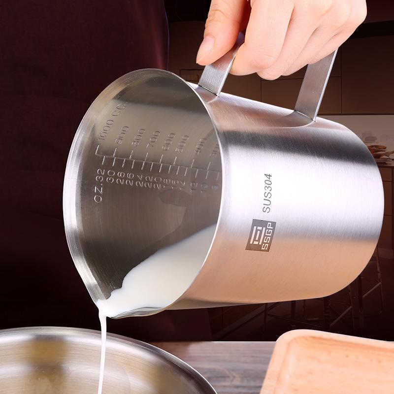 SSGP thick stainless steel 304 measuring cup with scale 2000ml 1000ml 500ml kitchen baking tea large capacity measuring cup T200326