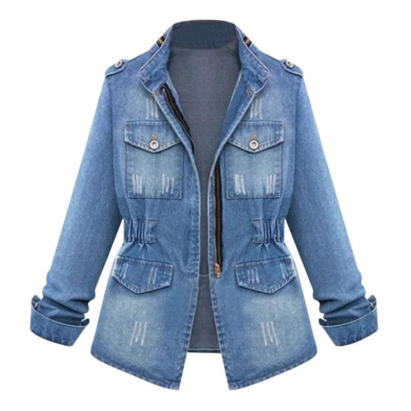 HEFLASHOR Women Casual Denim Jacken Strickjacke Reißverschluss Casaco Feminino Manteltaschen Top Street dünne elastische Taillen-Jeans-Jacke SH190912