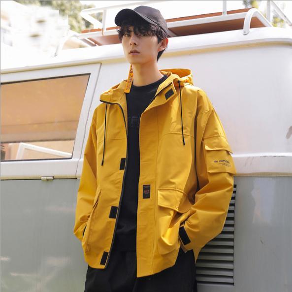 Yüksek kaliteli Casual erkek giyim mont 2020 erkek ceket kapüşonlu gevşek tulum sarı siyah gri parka ceket bahar