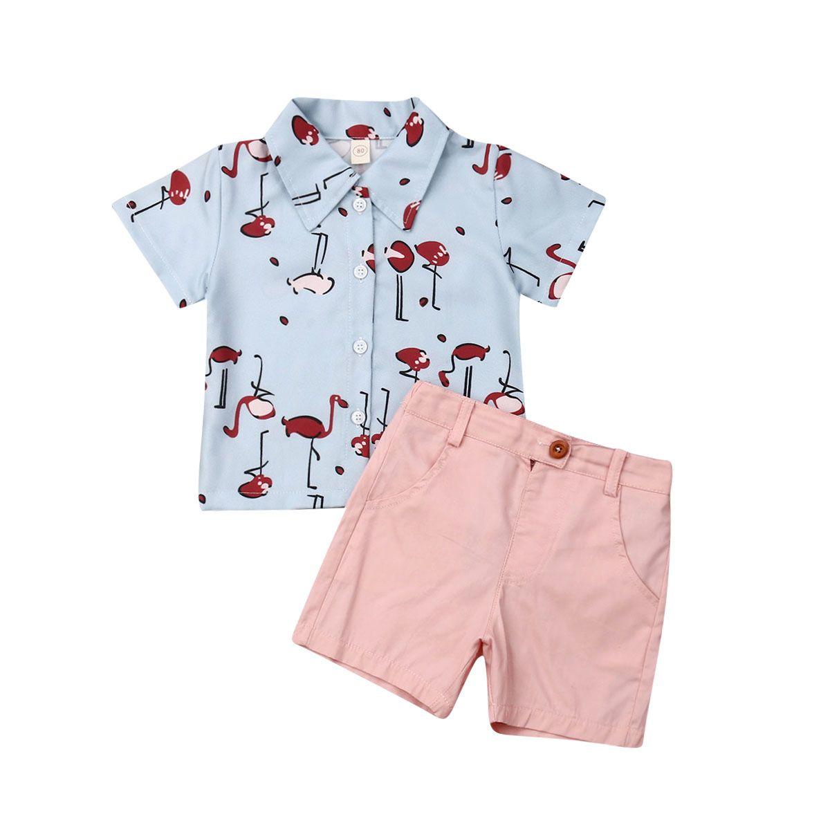 UK Fashion Toddler Baby Kids Boy Shirt Tops+Pants Flamingo Outfits Clothes Set